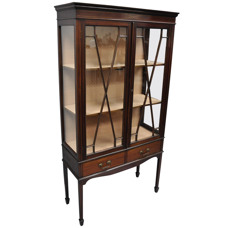 Antique Edwardian Mahogany Inlaid China Cabinet Two Door Curio Bookcase  Display