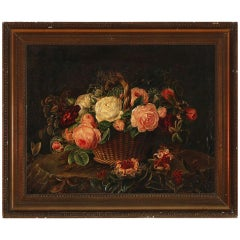 Danish Still Life of Flowers in a Basket, First Half of the 19th Century