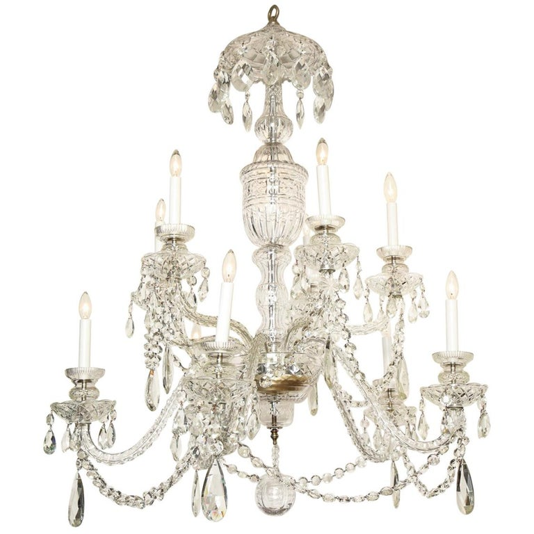 Georgian Style Cut Crystal Chandelier