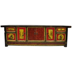 Hand-Painted Pine Wood Mongolian Coffer Credenza Red Black Green Low Cabinet
