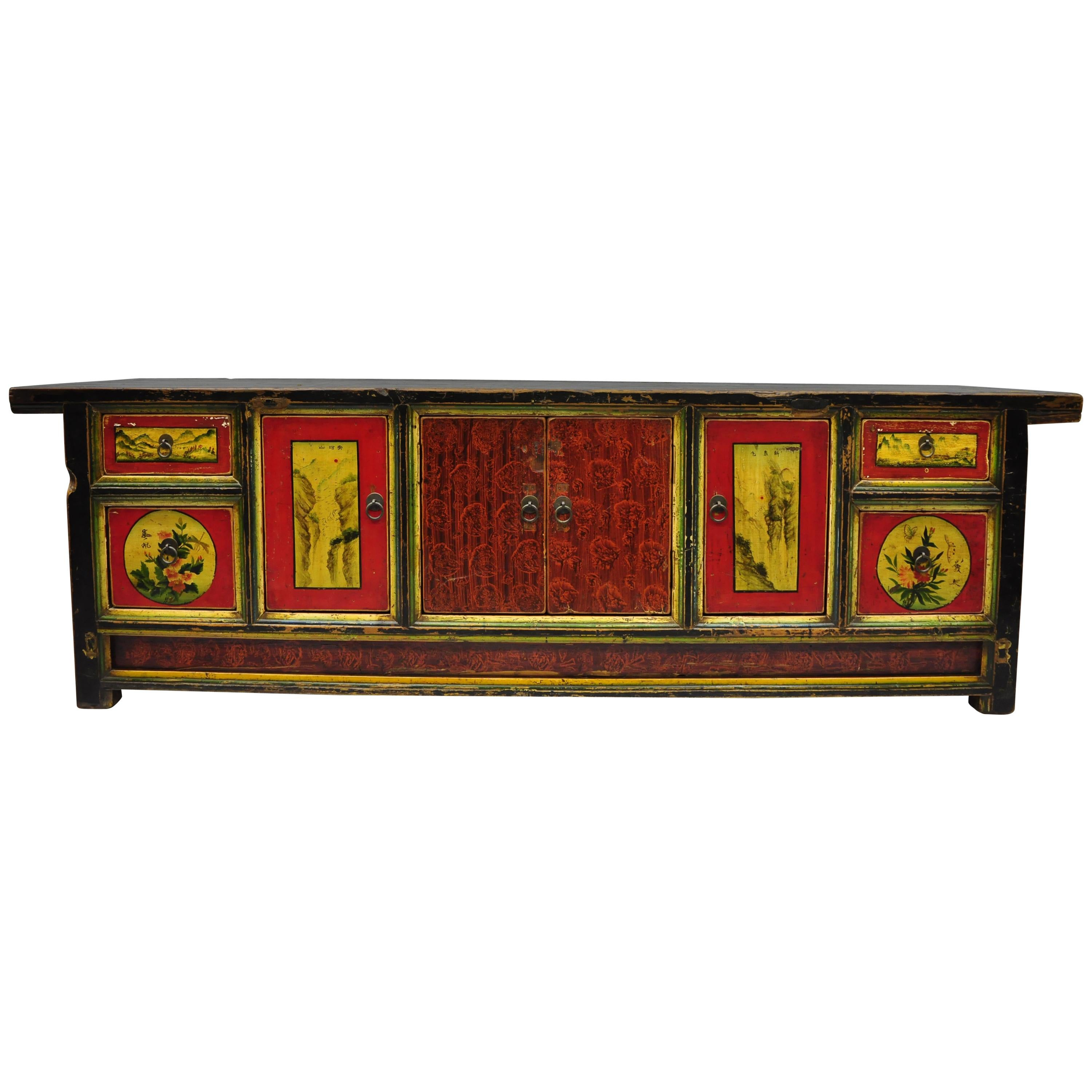 Charmant Hand Painted Pine Wood Mongolian Coffer Credenza Red Black Green Low Cabinet  For Sale