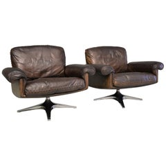 Vintage De Sede DS 31 Swivel Lounge Armchairs and ottoman, 1970s