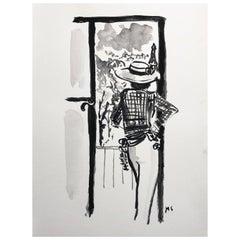 Coco Chanel in Paris, Gouache Archival Paper, 2017