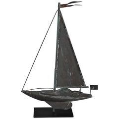 Sail Boat Weather Vane, Mounted