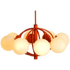 "Orange ""Kaiser"" Metal Ceiling Lamp with Eight Opal Glass Balls Space Age Atomic"