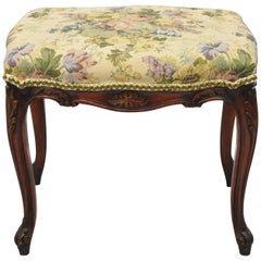Antique French Louis XV Provincial Style Upholstered Ottoman Bench Foo