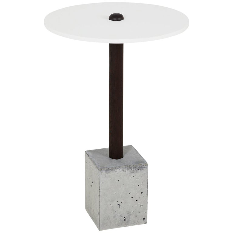 CT-1 Cast Concrete and Corian Side Table For Sale
