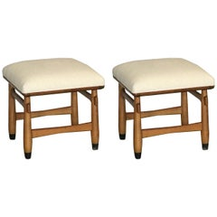 Pair of Carved Walnut Stools in the Style of Sergio Rodrigues