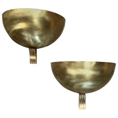 Pair of Italian Half Moon in Brass Wall Lights