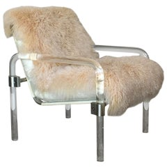 Welcoming Mongolian Lamb Lucite Armchair