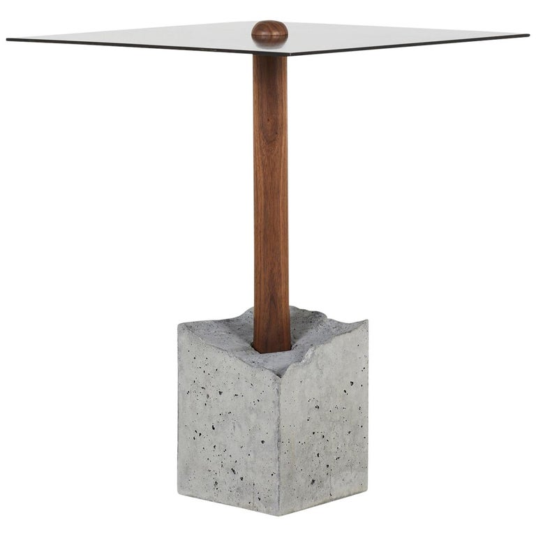 "CT-1 Blackened Steel Side Table of Walnut and ""Cracked"" Cast Concrete For Sale"