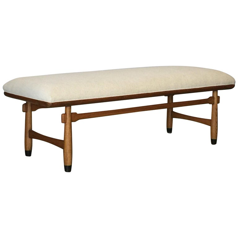 Chic Carved Walnut Bench in the Style of Sergio Rodrigues