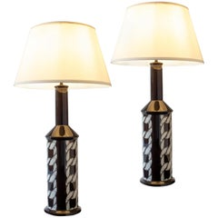 Royal Copenhagen, Tall Pair of Dark Brown & Ivory Chain-Link Faience Table Lamps