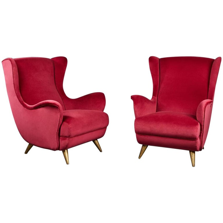 Pair of Velvet Wingback Italian Lounge Chairs in the Manner of Gio Ponti