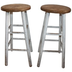Bar Stools with Original White Painted Base