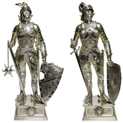 German 19th Century Sterling & Vermeil Silver Knights Probably Neresheimer, Pair