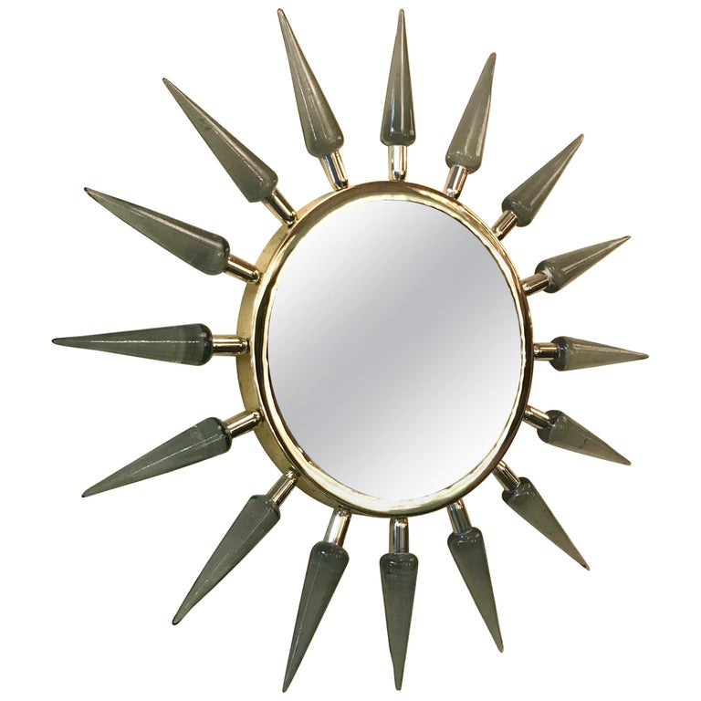 Italian Sunburst Murano Glass Mirror