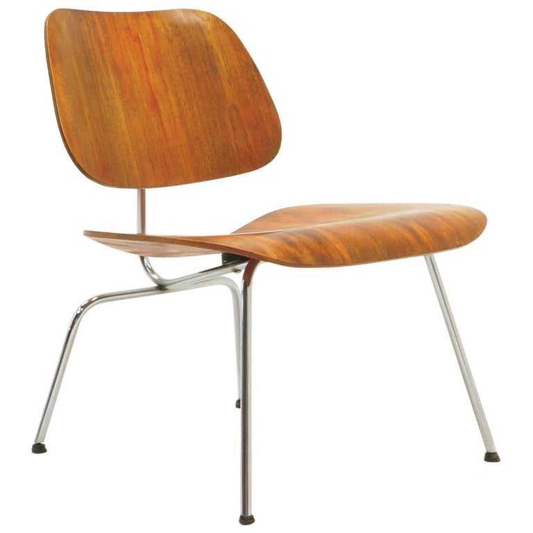 """Early Red Aniline Dyed Eames LCM """"Lounge Chair Metal"""", Signed with Evans Label"""