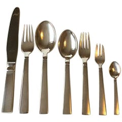 Georg Jensen Acadia Sterling Silver Dinner and Lunch Flatware Set 42 Pieces