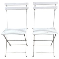 Pair of French White Bistro Folding Chairs