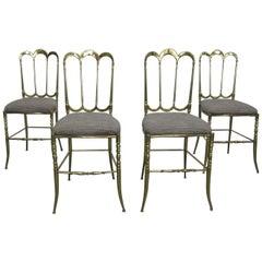 Set of Four Italian Brass Chiavari Chairs