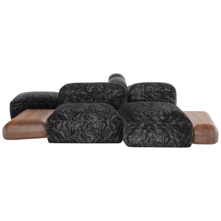 Lapis Sofa in Black Patterned Velvet by Emanuel Gargano & Anton Cristell