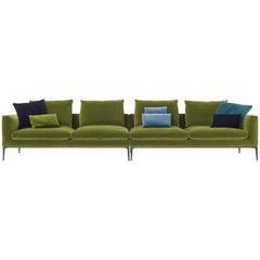 Leonard Composition Sofa in Green Velvet by Emanuel Gargano