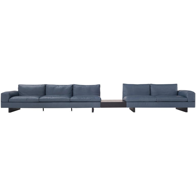 TAU Sofa in Blue Leather with Built-In Coffee Table by Emanuel Gargano
