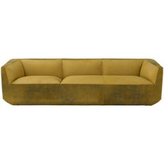 Panis Four-Seat Leather Sofa in Yellow by Emanuel Gargano & Anton Cristell