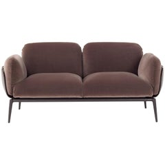 Brooklyn Two-Seat Sofa in Velvet and Cuoio by Stefano Bigi