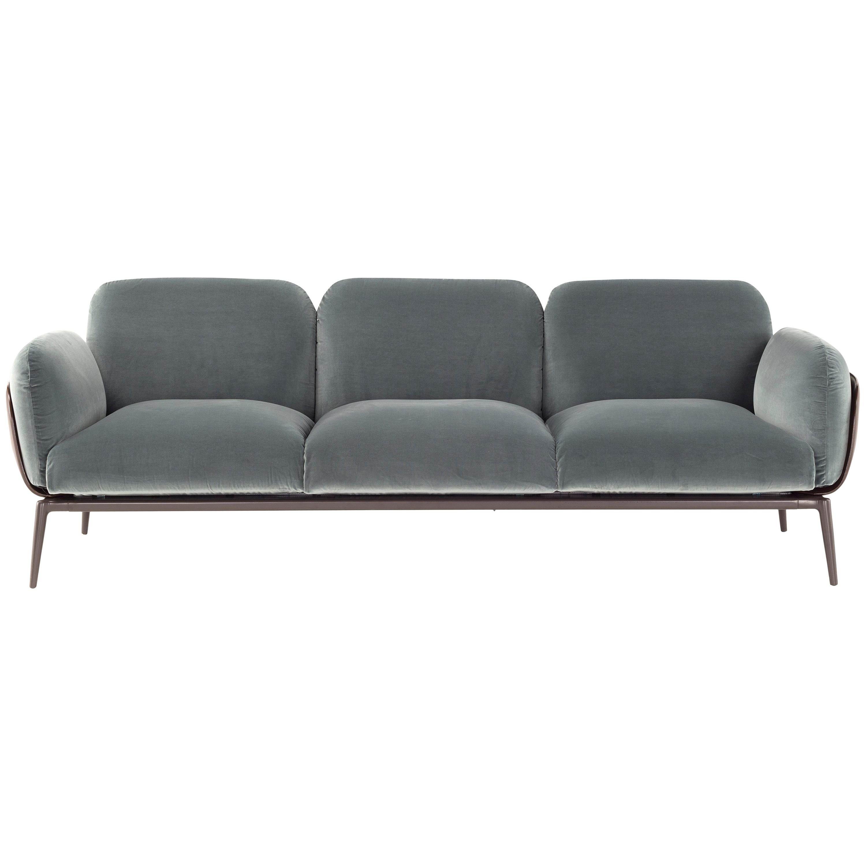 Brooklyn Three Seat Sofa In Velvet And Cuoio By Stefano Bigi For Sale