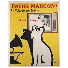 Original Vintage Poster, Pathe Marconi by Bernard Villemot, 1958
