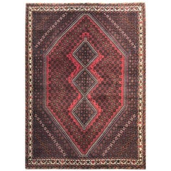 Vintage Hand-Knotted Persian Shiraz Red Rug, circa 1960s