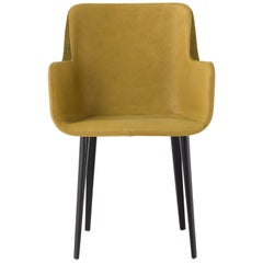 Panis Chair in Yellow Leather with Armrests by Emanuel Gargano & Anton Cristell