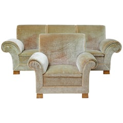 Art Deco Upholstered Armchair and Sofa