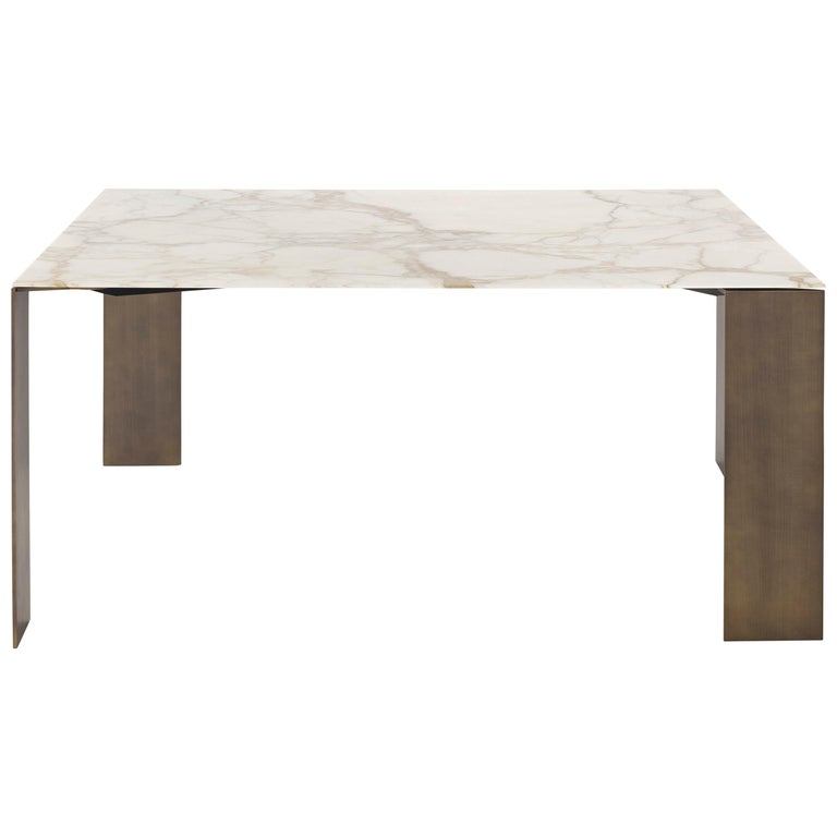Square Black Metal And White Marble Coffee Table: Exilis Square Dining Table With Black Metal Feet And