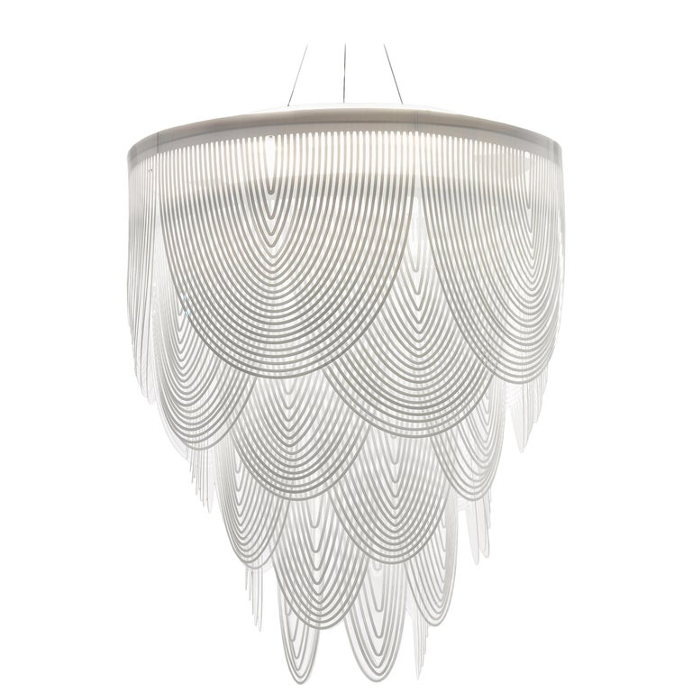 SLAMP Ceremony Large Pendant Light in White by Bruno Rainaldi For Sale
