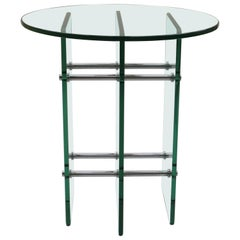1970s Glass and Nickel Side Table