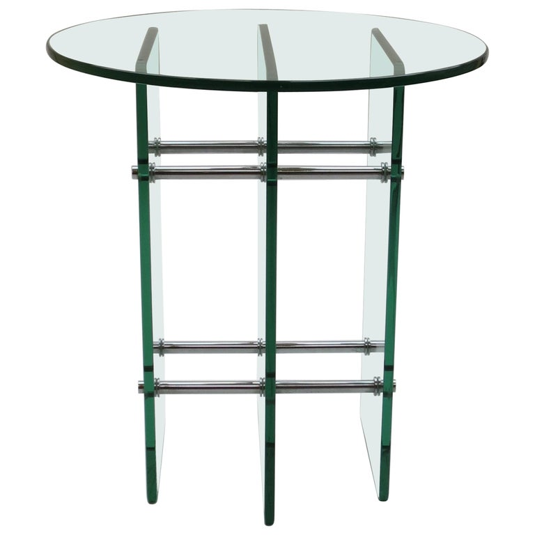 1970s Modernist Glass and Nickel Side Table