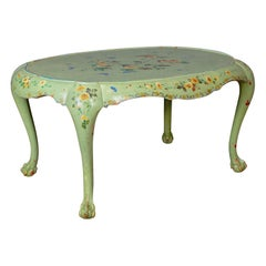 Antique Side Table French Country Hand Painted Coffee Early 20th