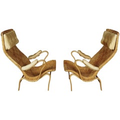 Pair of Midcentury Lounge Chairs Designed by Bruno Mathsson, Model Pernilla