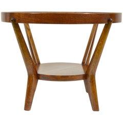 Round Coffee Table with Glass Desk, Funkcionalist Style, Former Czechoslovakia