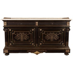Gilt-Mounted Ebony and Marble Commode 'Attributed to Henry Dasson'