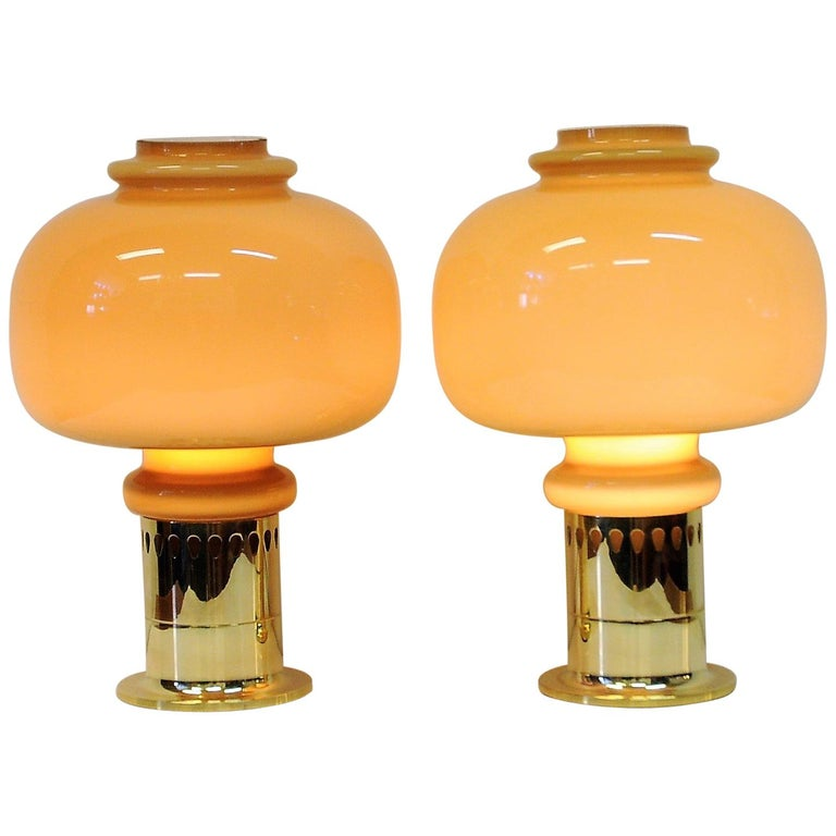 Pair of Glass and Brass Table Lamps 1960s with Brown Glass Shades by Haj, Sweden