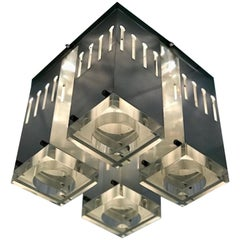 Italian 1970s Architectural Steel and Lucite Ceiling Light
