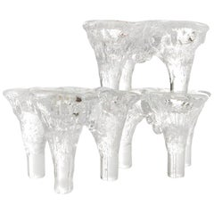 Don Shepherd Blenko Ice Glass Candle Holder, 1970s, Set of Three