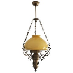 Midcentury Brass Opline Glass Suspension Lantern with Tall Clear Glass Chimney