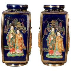 Antique Pair of Japanese Vases, Ceramic Pots, 20th Century