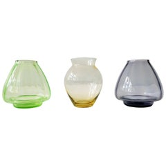 Set of Three Small Colored Glass Vases by A.D. Copier, the Netherlands, 1930s
