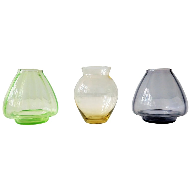 Set Of Three Small Colored Glass Vases By Ad Copier The